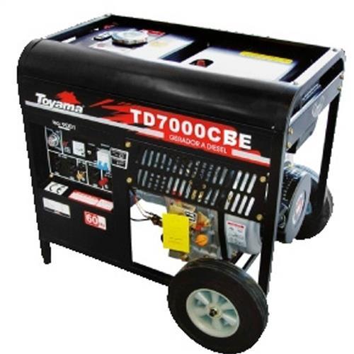 Gerador De Energia 5.5 Kva A Diesel Part. Manual Capacitor Brushless Td7000cb(E) Toyama Mono. 110/220V
