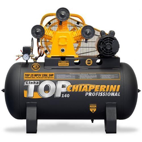Compressor De Ar Média Pressão Chiaperini Top 15 3Hp 140 Psi Mp3v 150 Litros Monofásico 110/220V
