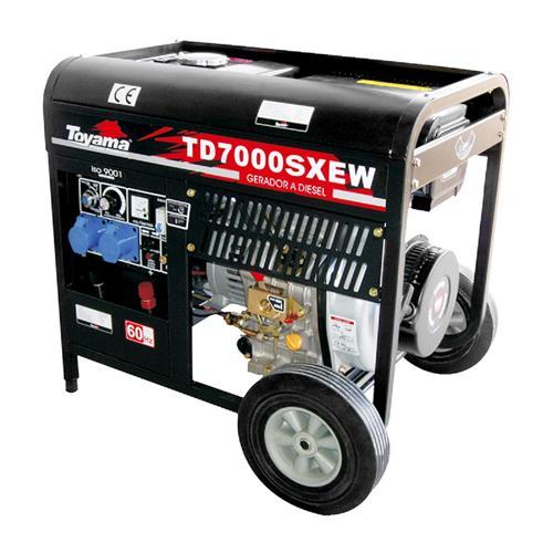Gerador De Energia Toyama Td7000sxew 10Hp 5,0Kva Monofásico 220V À Diesel Com Partida Elétrica E Máquina De Solda Acoplada